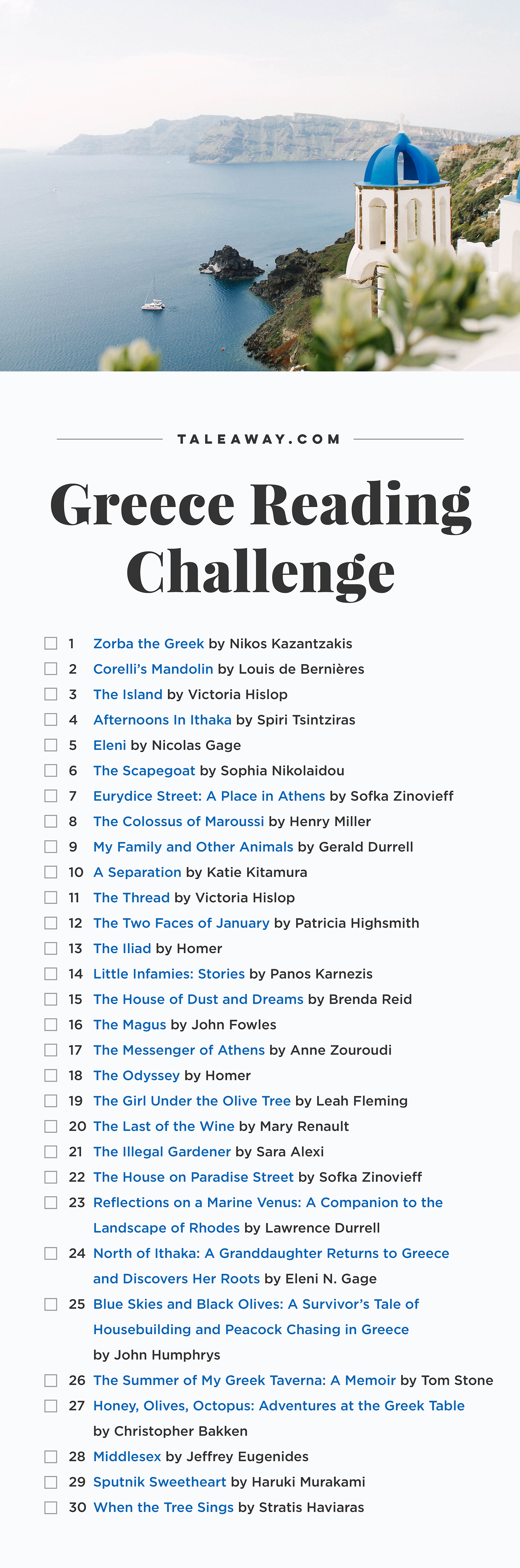 Greece Reading Challenge, Books Set In Greece - For more books visit www.taleway.com to find books set around the world. Ideas for those who like to travel, both in life and in fiction. reading challenge, greece reading challenge, book challenge, books you must read, books from around the world, world books, books and travel, travel reading list, reading list, books around the world, books to read, greece books, greece books novels, greece travel