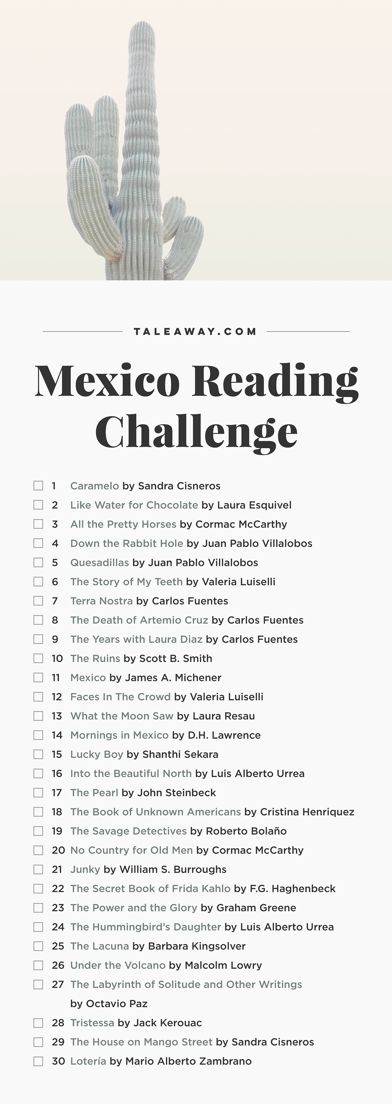 Mexico Reading Challenge, Books Set In Mexico - For more books visit www.taleway.com to find books set around the world. Ideas for those who like to travel, both in life and in fiction. reading challenge, mexico reading challenge, book challenge, books you must read, books from around the world, world books, books and travel, travel reading list, reading list, books around the world, books to read, mexico books, mexico books novels, mexico travel