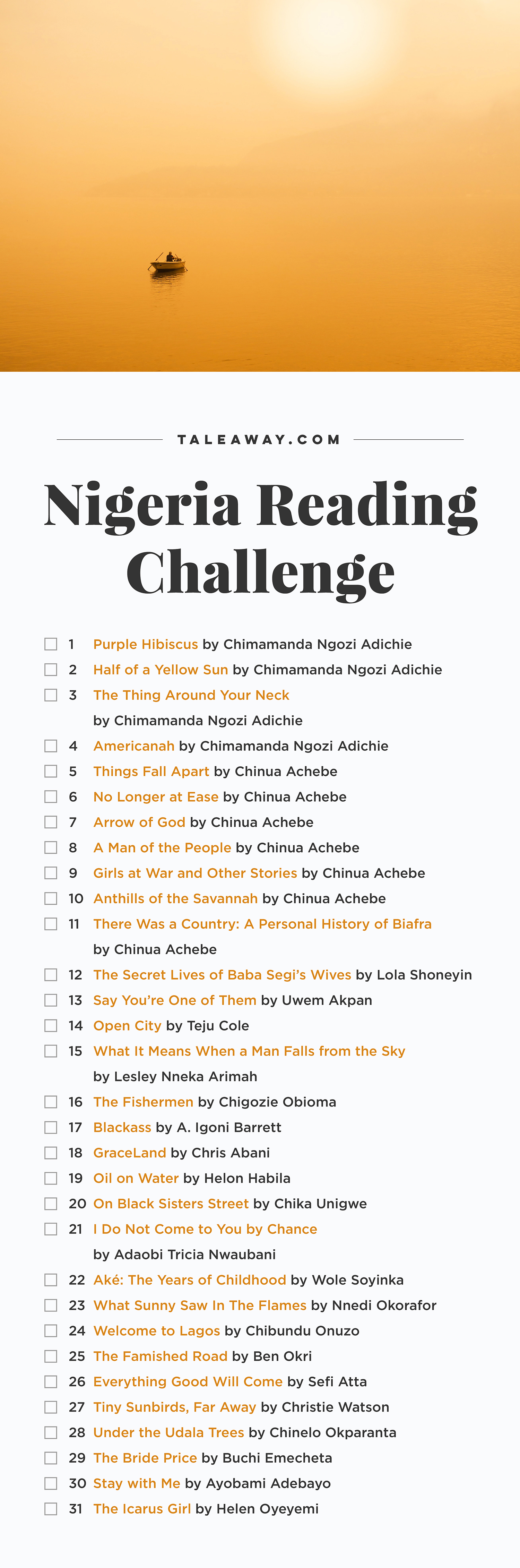 Nigeria Reading Challenge, Books Set In Nigeria - For more books visit www.taleway.com to find books set around the world. Ideas for those who like to travel, both in life and in fiction. reading challenge, nigeria reading challenge, book challenge, books you must read, books from around the world, world books, books and travel, travel reading list, reading list, books around the world, books to read, nigeria books, nigeria books novels, nigeria travel