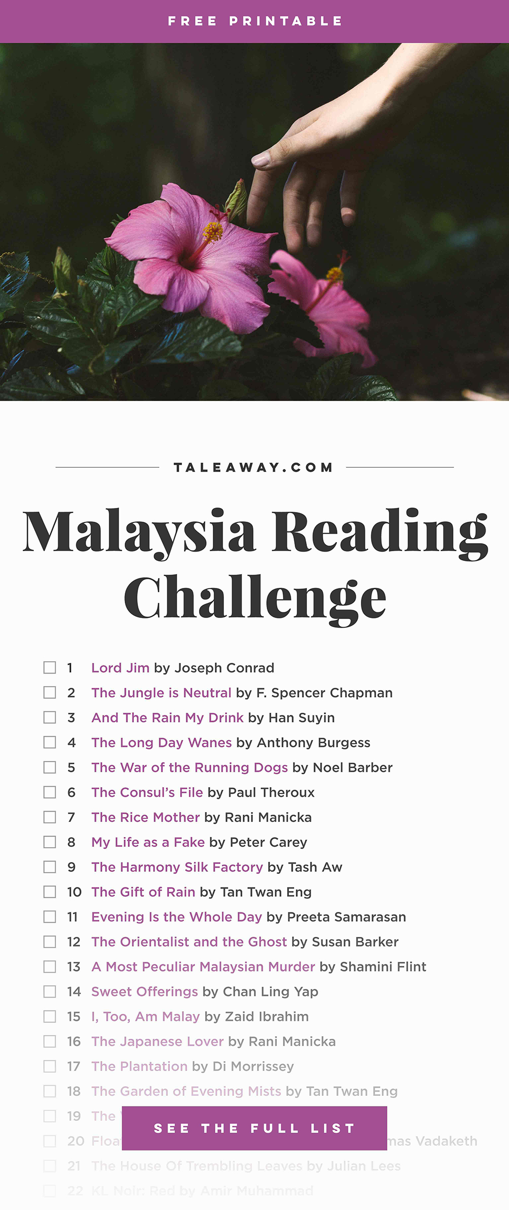 Malaysia Reading Challenge, Books Set In Malaysia - For more books visit www.taleway.com to find books set around the world. reading challenge, malaysian books, malaysia books, book challenge, books you must read, books from around the world, world books, books and travel, travel reading list, reading list, books around the world, books to read, malaysia books novels, malaysia travel
