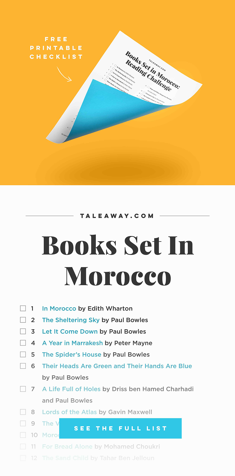 Books Set In Morocco. Visit www.taleway.com for books set around the world. moroccan books, books morocco, morocco book, books about morocco, morocco inspiration, morocco travel, morocco reading, morocco reading challenge, morocco packing, marrakesh book, marrakesh inspiration, marrakesh travel, travel reading challenge, fes travel, casablanca travel, tangier travel, desert travel, books around the world, books to read, books set in different countries, morocco bookshelf, morocco africa, books set in africa, morocco culture, morocco history, morocco author, books and travel, reading list