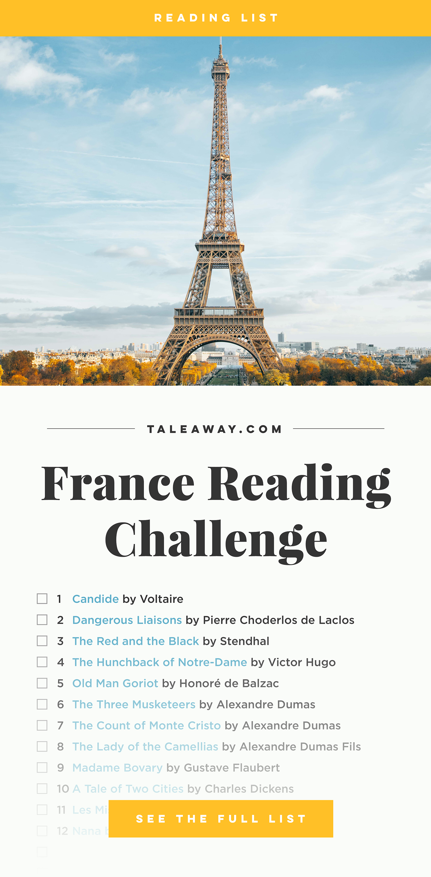 Books Set In France. Visit www.taleway.com to find books from around the world. french books, french novels, best books set in france, popular books set in france, books about france, books about french culture, french reading challenge, french reading list, books set in paris, paris novels, novels set in paris, french books to read, books to read before going to france, novels set in france, books to read about france, french english books, livres francais, famous french authors, france packing list, france travel, romance books set in france, mystery books set in france, historical fiction set in france, france travel books, classic french books, famous french novels, best books about france, best french novels