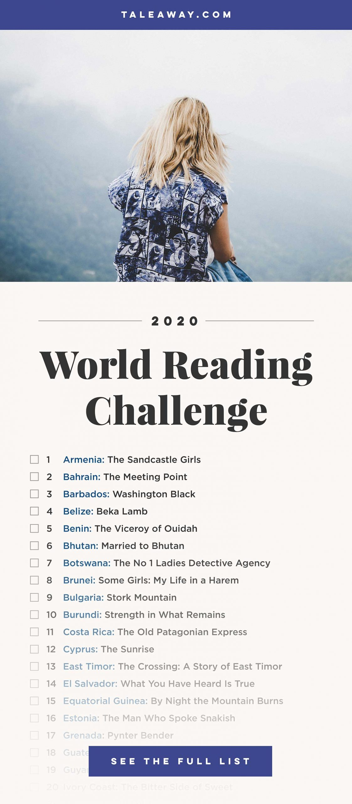 World Reading Challenge, Books Around The Globe - For more books visit www.taleway.com to find books set around the world. reading challenge, 2020 reading challenge, world reading challenge, book challenge, 52 books, 52 weeks, new years resolution, books you should read, books from around the world, world books, books and travel, travel reads, reading list, books around the world, books to read, books set in different countries