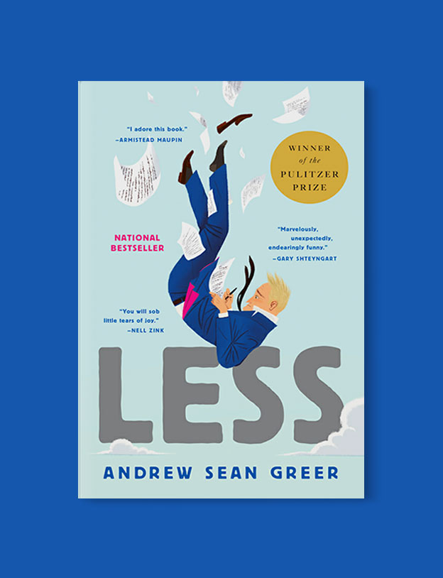 Best Book Covers 2017, Less by Andrew Sean Greer, illustration by Leo Espinosa - book covers, book covers 2017, book design, best book covers, best book design, cover design, best covers, book cover design, book designers, design inspiration, cover design inspiration, book cover ideas, book design ideas, cover design ideas, book typography, book cover typography, book cover illustration, book cover design ideas
